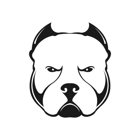 American bully dog?? logo su sfondo bianco. Ritratto in bianco e nero di un cane. Vettore.