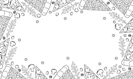 Pizza e ingredientes. Diseño de menú de pizza dibujado a mano con espacio para texto. Fondo: pizza, rúcula, champiñones, salchicha, aceitunas. Vector.