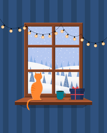 Christmas window overlooking the winter landscape. On the window there is a cat, a mug with a hot drink, a gift and a garland. Vector illustration. Ilustração
