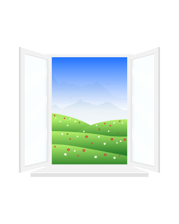 Open window with a beautiful view of the landscape.
