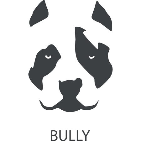 American bully dog logo template on white background. Vector illustration. Иллюстрация