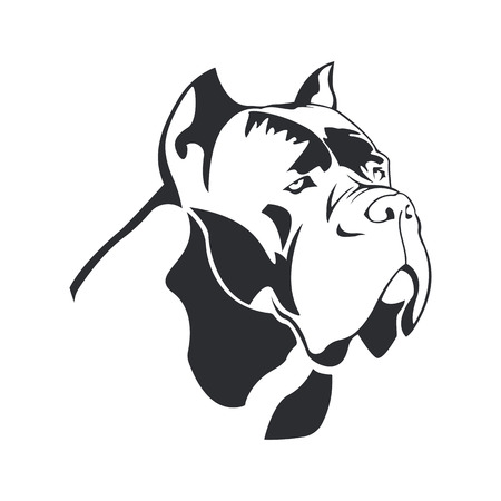 Cane Corso dog logo. Dog element cane Corso black on white background for design. Vector. Vettoriali