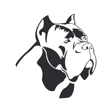 Logo de chien Cane Corso. Chien élément cane Corso noir sur fond blanc pour la conception. Vecteur.