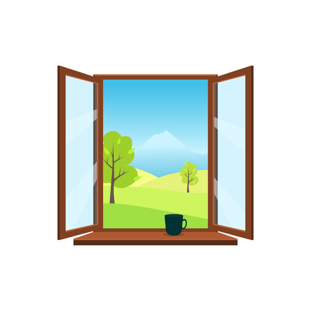 Ventana abierta sobre fondo blanco. Ventana abierta con vistas al paisaje primaveral: prados, montañas, árboles. En el alféizar de la ventana vale una taza. Ilustración de vector de estilo plano.