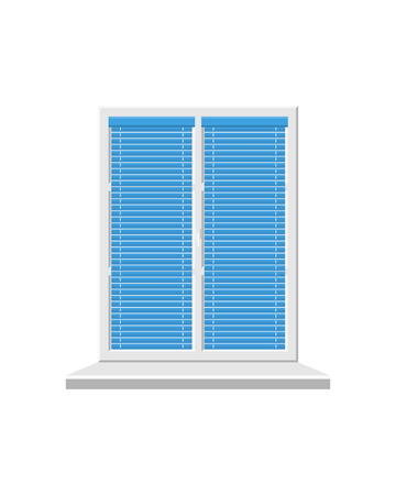 White window with blinds isolated on white background. Closed window with blue blinds. Vector. Illustration