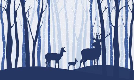 Deers in the forest winter landscape. Dusk snow falls. Flat vector illustration style. Ilustração