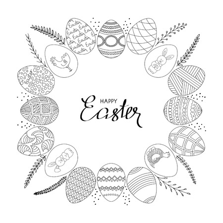 Happy Easter frame Eggs with different patterns and twigs arranged in a circle. Hand-drawn black and white vector illustration.