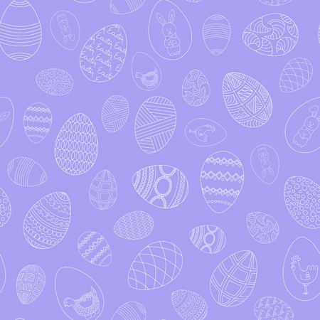 Happy Easter seamless pattern. Hand-drawn eggs on a lilac background. Vector.
