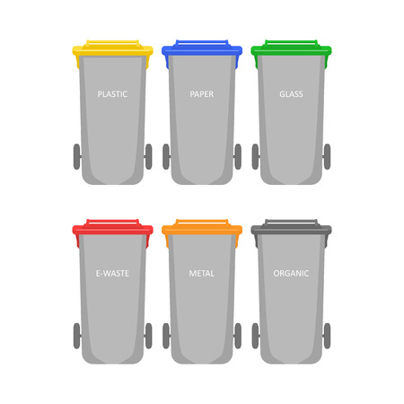 Multi-colored garbage containers for garbage and waste. Waste bins for sorting and recycling isolated on white background. Ilustração