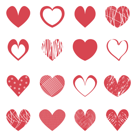 Red hearts icons set. Valentine's day symbols on white background. Vector.