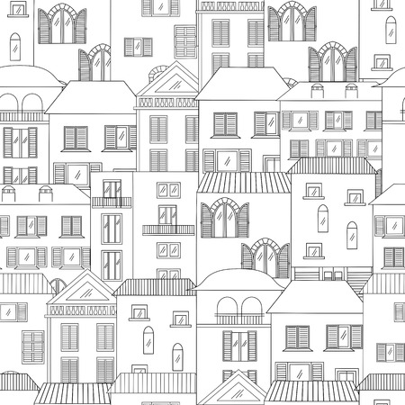 Hand-drawn houses in italian style seamless pattern. Old town vector illustration.