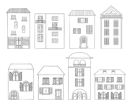 Hand-drawn houses collection. Windows, shutters, balconies and doors Black and white vector illustration.