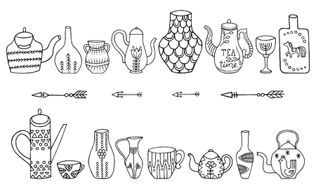 Set of teapots and jugs isolated on white background. Vector doodle collection.