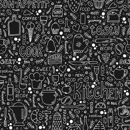 Czarno-białe ilustracje Doodle z gotowaniem, jedzeniem i napisem. Biała kreda na czarnej tablicy. Idealny do dekoracji baru, kawiarni, restauracji czy domowej kuchni. Wektor wzór.