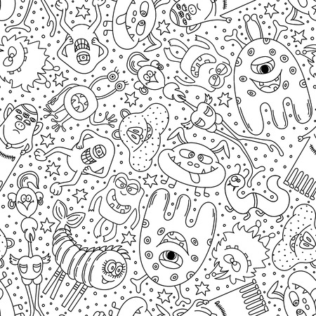 Monsters seamless pattern. Hand drawn Doodle monsters on white background. Black and white vector illustration.