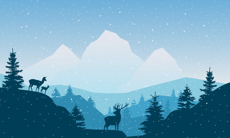 Wildlife vector illustration. Winter landscape with mountains, forest, hills, deer and birds. Stock Illustratie