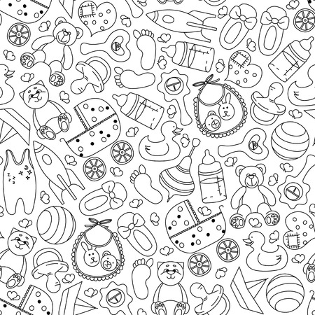 Handgezeichnetes Muster mit Kinderspielzeug und Zubehör. Nahtloses Schwarzweiss-Muster. Vektor-Illustration.