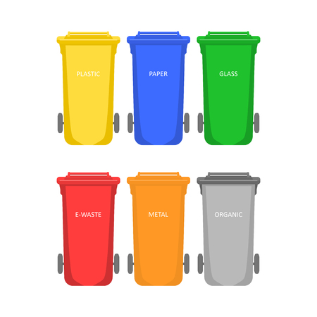 Garbage container. Colored waste bins for sorting waste on white background. Flat vector illustration style. Ilustracja