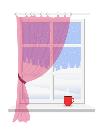 Winter window with red curtain overlooking the snow-covered landscape. Ilustrace