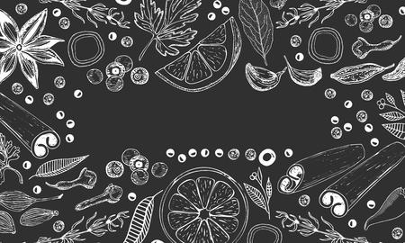 Fondo di vettore disegnato a mano per cucina su sfondo nero.