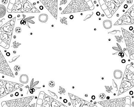 Fondo de pizza en estilo Doodle. Plantilla de diseño de menú de pizza e ingredientes, vista superior. Ilustración vectorial.