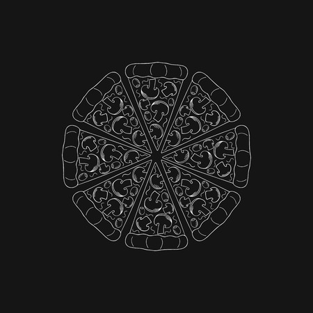 Round pizza. Hand drawn round pizza with mushrooms on a black background. Vector illustration.