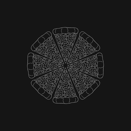 Round pizza with sausage. Hand - drawn pizza cut into pieces on a black background. Vector illustration.