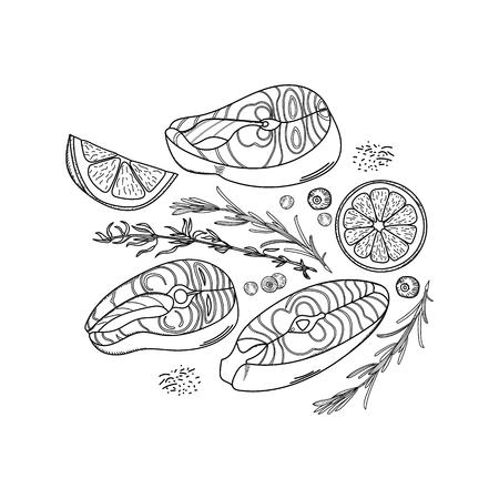 Hand-drawn set of salmon steaks, lemon slices, thyme and black pepper peas. Health food.