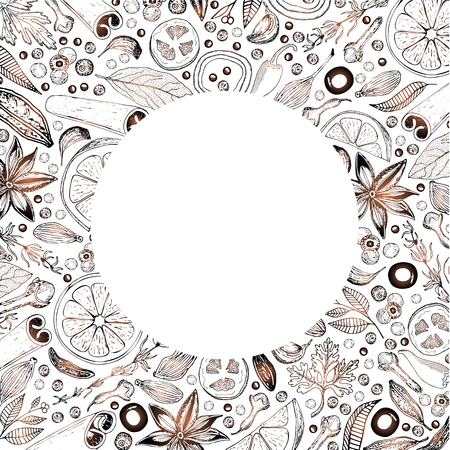 Vector card design with hand-drawn edible patterns arranged in a circle. Decorative background with vintage sketch.
