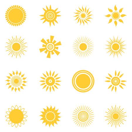 Sun icon set. Collection of suns isolated on white background. Flat style vector illustration. Ilustração