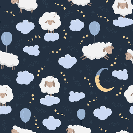 Seamless pattern with cartoon sheeps in the sky. Clouds and moon and stars. The concept of counting sheep. Vector illustration. Illustration