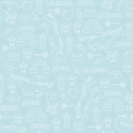 Cute background for kids with unicorns. Hand drawn seamless pattern on blue background.