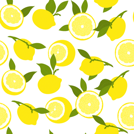 Seamless summer pattern with lemons. Yellow lemons with green leaves on white background.