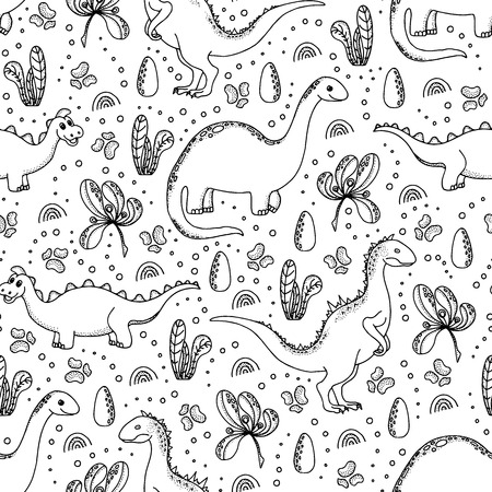 Cute dinosaurs seamless pattern. Hand drawn cartoon dinosaurs, dinosaur eggs, flowers and pebbles on white background.