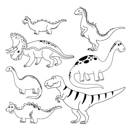 Dinosaurs set. Hand drawn vector dinosaurs on white background. Cartoon Dino. Illustration