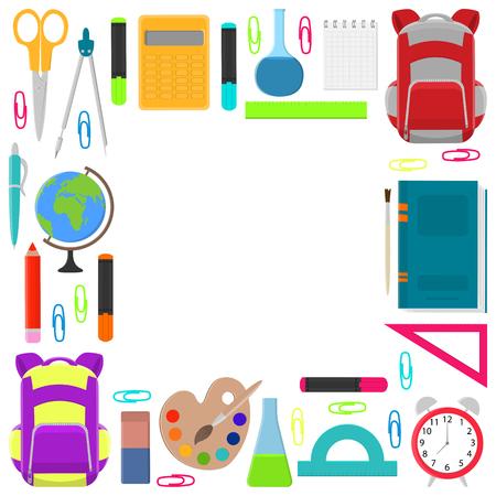Cadre carré de fournitures scolaires sur fond blanc. Retour à l'école. Illustration vectorielle.