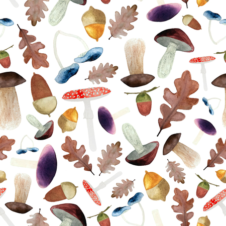 Watercolor seamless background with mushrooms, acorns and oak leaves. Autumn forest background.