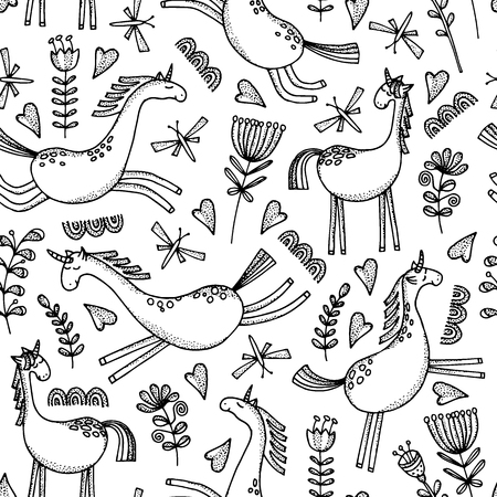 Seamless pattern with flowers, butterflies and hearts. Black and white vector illustration.