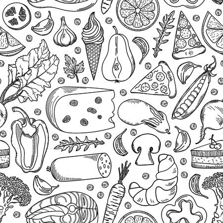 Hand drawn food seamless pattern. Ilustracja