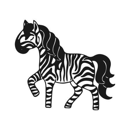 Dibujado a mano pequeño icono de cebra lindo. Ilustración vectorial.