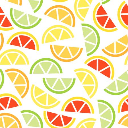 Seamless citrus fruits background. Vector summer fruit pattern.
