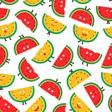 Seamless pattern with ripe watermelon slices. Cute cartoon character. Fruit colorful background. Vecteurs