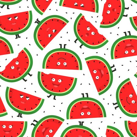 Seamless pattern with watermelon slices. Cute cartoon character. Fruit background.