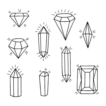 Gems set. Hand-drawn collection of jewels and crystals on white background.