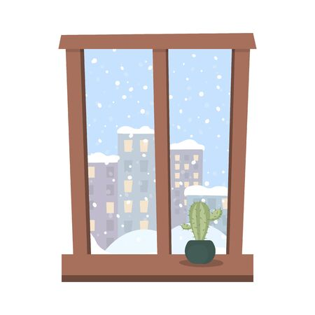 Window with a snow covered city view. Home plant cactus on the windowsill. Vector illustration. Illustration