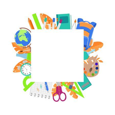 Conception de fond d'éducation. Fournitures scolaires - cadre coloré.