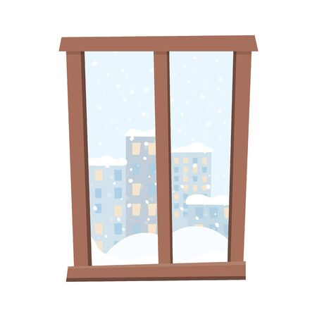Window with a snow covered city view. Flat style vector illustration.