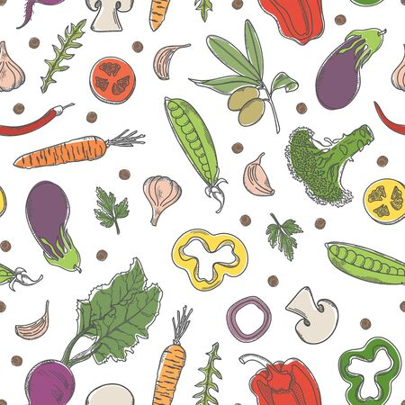 Seamless pattern with fresh healthy vegetables. Hand-drawn vegetarian products.