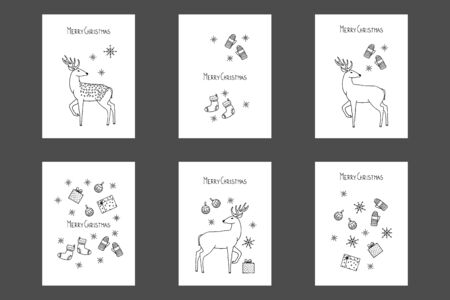Vector merry Christmas greeting cards, cute deer, gifts, snowflakes, mittens and sock.