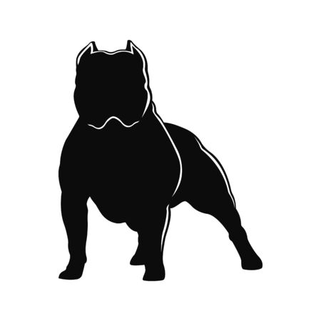 Bullo americano della razza del cane Sagoma di cane isolato su sfondo bianco. Vettoriali